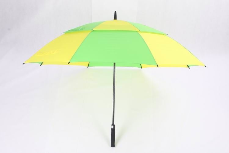 Lightweight Vented Golf Umbrella , Green & Yellow Heavy Duty Golf Umbrella